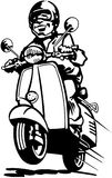 Man driving scooter cartoon Vector Clipart Royalty Free Stock Photography