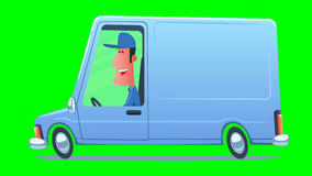 Man driving a service van. Cartoon smiling man driving a service van against the background of city. Looped 2D animation. Video contains main composition stock video
