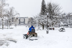 Man driving  snow removal machine in Sofia,Bulgaria Stock Image