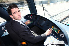 Man driving a tram Stock Photography