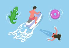 Man Driving Jet Ski, Girl Swimming in Water Vector vector illustration