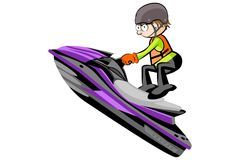 Man driving a water scooter - isolated on white Stock Photo