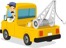 Man driving a wrecker illustration Royalty Free Stock Image