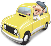 Man driving yellow car renault 4 Royalty Free Stock Photography