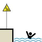 Man drowning. Warning hazard sign and signage man drowning Vector Illustration