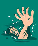 Man drowning reaching for help royalty free illustration