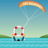 Man drowning supported by tube, parachute, insuran. Ce Royalty Free Stock Images
