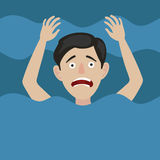 Man drowns in water cartoon vector illustration. Man drowns in water. Color hand drawn cartoon vector illustration Stock Photography