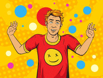 Man on drugs pop art style vector Royalty Free Stock Image