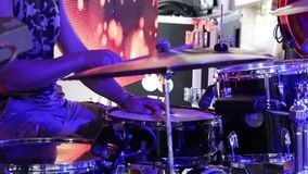 Man drummer playing on a drums on concert close up. Man drummer playing on a drums on a concert close up stock video