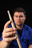 Man with Drumstick left Royalty Free Stock Photo