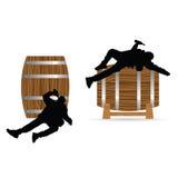 Man drunk on barrel illustration Stock Images