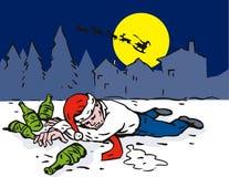 Man drunk Santa in hat Royalty Free Stock Image