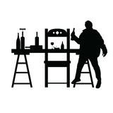 Man drunk silhouette with bottle in black illustration Stock Photo