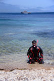 Man in dry suit for snorkel Royalty Free Stock Photos
