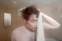 A Man Drying Himself Stock Image