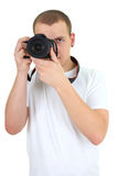 Man with dslr camera Royalty Free Stock Photo