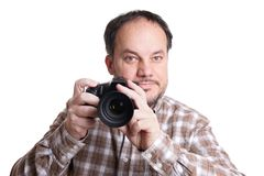Man with dslr camera Stock Images