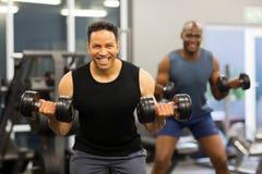 Man dumbbell exercise. Two men doing dumbbell exercise in gym Royalty Free Stock Image