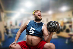 Man with a dumbbell. Fat man do hard exercises with a dumbbell in the gym Stock Photos