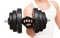 Man with a dumbbell in his hand Stock Photos