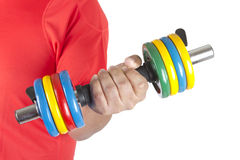 Man with a dumbbell Stock Photo