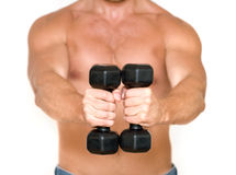 Man with dumbbells Royalty Free Stock Images