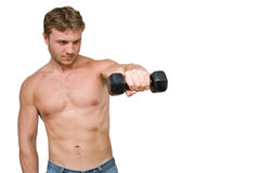 Man with dumbbells. Young man with black dumbbells Stock Images