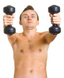 Man with dumbbells Royalty Free Stock Photos