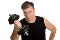 Man with dumbbells Stock Image