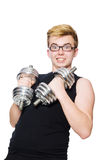 Man with dumbbells Royalty Free Stock Image
