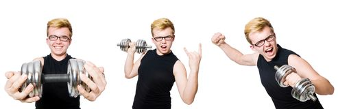 Man with dumbbells isolated on white Royalty Free Stock Photos