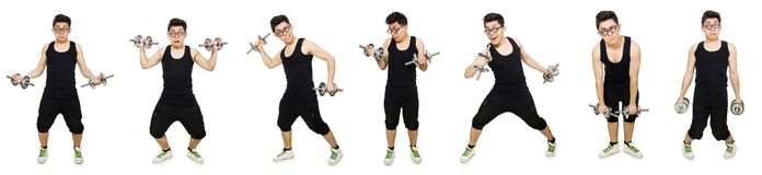 The man with dumbbells Stock Photos