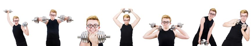 The man with dumbbells isolated on white Stock Photos