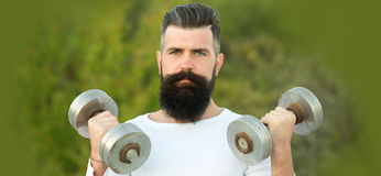 Man with dumbells Stock Image
