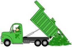 Man dumping a load of St. Patricks day shamrocks Stock Image