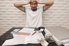 Man During Filling Tax Forms Royalty Free Stock Photos
