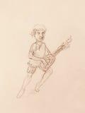 Man (Dwarf) plaing lute. pencil sketch on paper. Original hand draw. Stock Photos