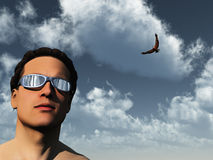 Man and eagle Royalty Free Stock Images