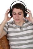 Man in ear-phones Stock Photo