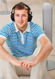 Man with earphones Royalty Free Stock Image