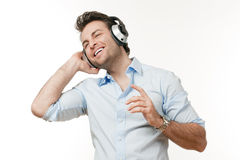 Man with earphones Stock Photo