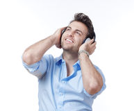 Man with earphones Royalty Free Stock Photography