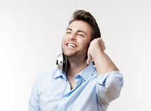 Man with earphones Royalty Free Stock Photos