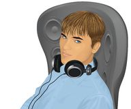 Man with earphones. Royalty Free Stock Photo