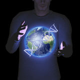 Man with earth and DNA Stock Photo