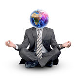 Man with Earth instead head in lotus posture Stock Photos