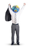 Man with Earth instead head in winner posture Stock Photo
