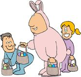 Man in an Easter bunny costume stock illustration