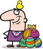 Man with easter eggs and chicken cartoon. Cartoon Illustration of Happy Man with Easter Chicken or Chick Hatched from Colored Egg Stock Photo
